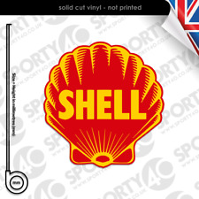 2x SHELL OIL Vintage 1930 Sticker Vinyl Decal 2x100mm SHELL GASOLINE 4204-0119