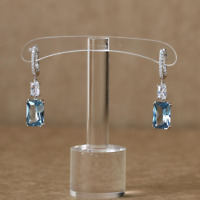 4Ct Radiant Cut Blue Aquamarine Diamond Gatsby Drop Earrings 14K White Gold Over