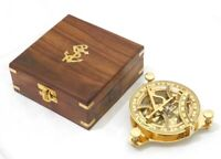 Brass Nautical Sundial Compass With Box Collectible Marine 4.5 Inch Item