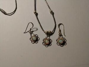 Opal earrings and necklace with filigree Sterling Silver 925