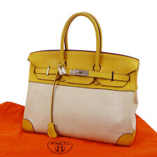 Authentic HERMES BIRKIN 35 Hand Bag Purse Clemence Toile H Yellow Beige JT04927
