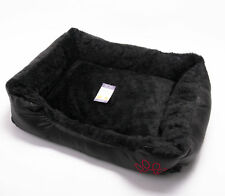 Washable Pet Bed Dog Puppy Cat Kitten Cushion Mat Fur Lined Leather Look Black S