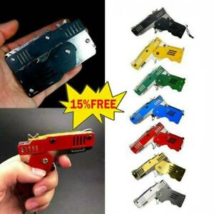 Rubber Band Gun Mini Metal Folding 6-Shot with Keychain and Rubber Band 100+HOT!