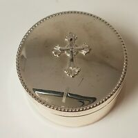 Reed & Barton 4700 Abbey Silverplate Cross Round Lined Box - Preowned -Tarnished