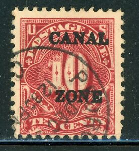"""CANAL ZONE Used Postage Due Selections: Scott #J20 10c Car Rose SHARP """"A"""" CV$20+"""