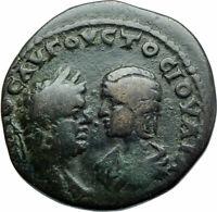 CARACALLA & JULIA DOMNA Marcianopolis Ancient 198AD Roman Coin TYCHE i79065