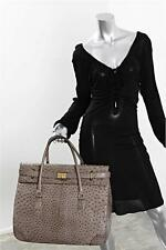 SIDONIE LARIZZI Taupe Ostrich Carry-All Bag Handbag Tote Satchel Travel HUGE!!!