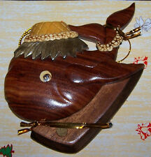Hawaiian Happy Whale Surf Handcrafted Real Wood Christmas Ornament k001