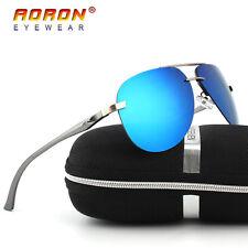 Aluminium-HD-Polarized-Mens-Sunglasses-Pilot-Eyewear-Driving-Glasses-Blue-Lens