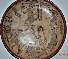 "Huge! Pre Columbian Mayan Plate, glyphs 14-15"" Prov"