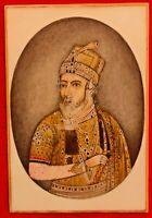 Hand Painted Portrait Maharaja King Rare Art Work Miniature Tiny Finest Color