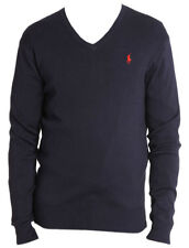 Men's Ralph Lauren Italian Yarn Lamb's Wool V Neck Pull Over Jumper L Dark Blue