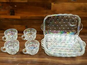 Federal Glass Co. Iridescent Snack 8 Piece Set, 4 Trays & Cups Carnival Glass