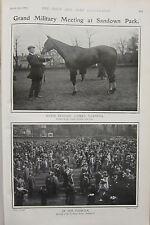1903 BOER WAR ERA PRINT ~ GRAND MILITARY MEETING SANDOWN PARK PADDOCKS MARPESSA