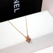 18K Rose Gold Plated Diamond Shaped Pendant Filigree Crown Crystal Necklace