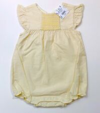 NWT JANIE AND JACK Little Blossom Yellow Smocked Romper Outfit Size 18-24 Months