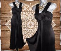 KAREN MILLEN Black Satin Full Length Ball Gown Prom Evening Dress size 10 / 38