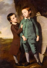 Oil painting george romney - portrait of two boys with a kite in landscape art