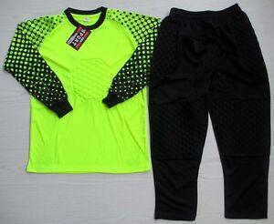 Soccer Goalie Goalkeeper Kit Kids Sizes Long Sleeve Jersey Crop Pants Neon Green