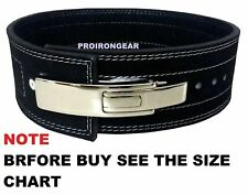 "Weight Lifting Lever Belt Bodybuilding Leather Power Belt 4"" Wide Black"