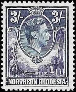 Northern Rhodesia - KGV - 3s - SG42- Mint Very Lightly Hinged