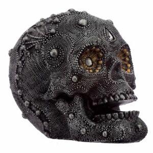 Silver Beaded Skull Head Medium Ornament