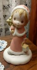 Betsey Clark Hallmark Figurine Christmas Girl With Lantern & Tree So Cute! Lqqk!