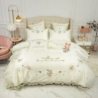 Cotton Satin Lace Duvet Cover Bed Sheet Chic Embroidery Cream Bedding Set  4Pcs