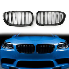 Double Line Glossy Black Front Hood Kidney Grill Grille For BMW F10 F18 2010-16/