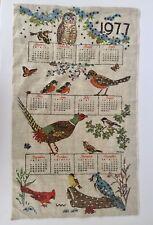 Vintage Linen Cloth 1977 12 Month Calendar Owl Butterfly Pheasant Sequin Garden