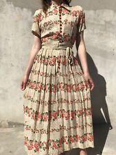 Vintage 1940s Creamy Rayon Red Floral Print Dress Button Up Pleats Midi W/ Belt