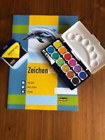 Farbkasten12er Deckfarbkasten Wasserbox Zeichenblock A3 Set Schulanfang