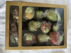 Huntington 12 Piece Sugar Frosted Icy Beaded Fruit Ornaments Holiday Christmas
