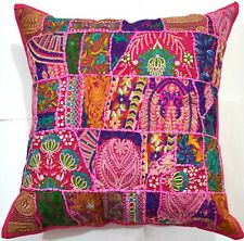 """24"""" Pink Bohemian Embroidered Decorative Patchwork Pillow/Cushion Cover Throw"""