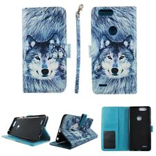 CASE ZTE BLADE Z MAX Pro 2 WALLET COVER FOLIO LEATHER ID CARD HOLDER SNOWY WOLF