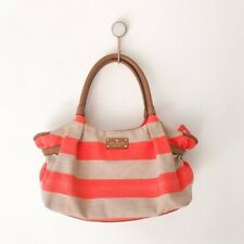 $328 Kate Spade Stevie Jubilee Striped Canvas Leather Shoulder Bag Coral Natural