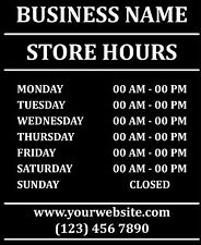 "Custom Business Store Hours Sign Vinyl Decal Sticker 11""x13"" Door Glass"