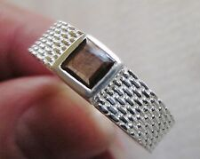 Men's Genuine Brown Sapphire Band Ring, 925 Sterling Silver, size 14 --8.5 grams