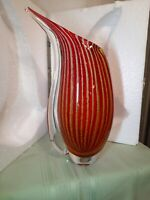 "Murano Art Glass Melon Vase 13"" Tall'' & Over 7 lbs BEAUTIFUL"
