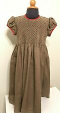 Will'beth 5T Smocked Brown Linen Dress - EUC