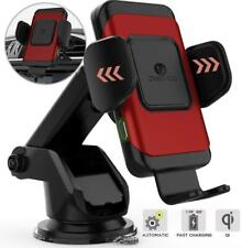 ZeeHoo Wireless Car Charger,10W Qi Fast Charging Auto-Clamping Red