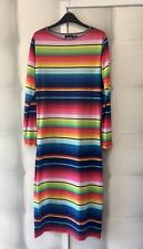 House Of Holland Mexican Stripe Tube Jersey Midi Maxi Dress L 14 42