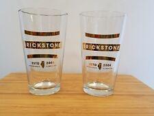 2 Brickstone Beer  - Brick Stone Brewery - Bourbonnais IL Gold logo pint glasses