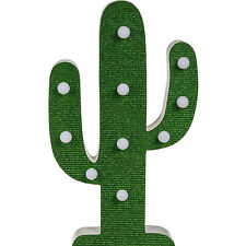 10 LED Battery Operated Wooden Cactus Bedside Portable Table Light Lamp 42cm