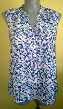 Ladies Womens Sleeveless Button Up Shirt Sheer Blue Blouse Top Millers Size 18
