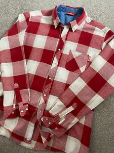 RARE VINTAGE 1990'S KICKERS PRESS STUD THICK RED CHECK OVER SHIRT XL