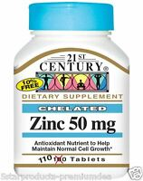 21st Century Health Care Zinc Antioxidant Normal Cell Growth 50 mg 110 Tablets