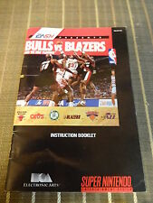 Super Nintendo Bulls vs Blazers Replacement Instruction Booklet Only