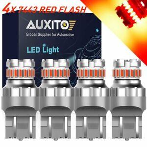 4X 7440 7443 RED Flash Strobe Blinking Brake Tail Stop Light LED Bulb For Honda