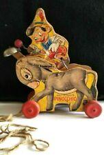 1939 Fisher Price PINOCCHIO Pull Toy Walt Disney No. 494 WORKS